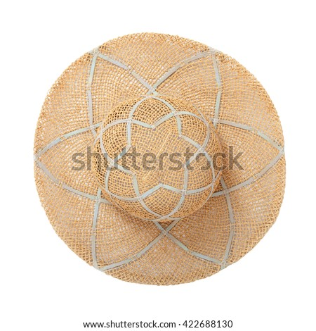 Pretty straw hat with ribbon and bow on white background. Beach hat top view isolated - stock photo