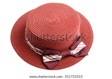 Pretty straw red hat on white background