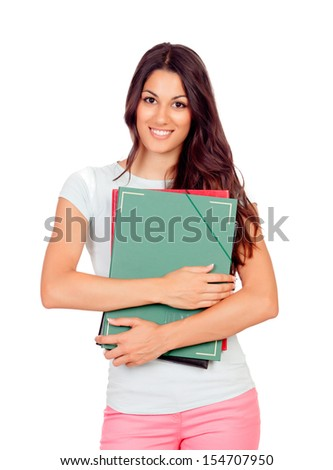 Pretty student girl with pink pants isolated on white - stock photo