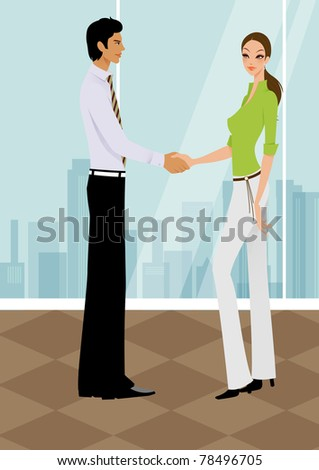 Pretty  successful business woman shaking hands with a man in office  with buliding silhouette  as background - stock photo