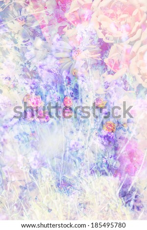 Pretty summer flowers artistic background with pink roses - stock photo