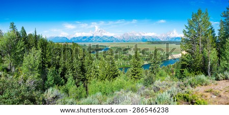 Pretty summer morning at the Snake River Overlook in Grand Teton National Park, WY - stock photo