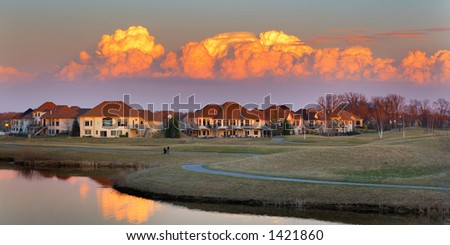 Pretty sunset view on a golf course community. More with keyword Group1. - stock photo
