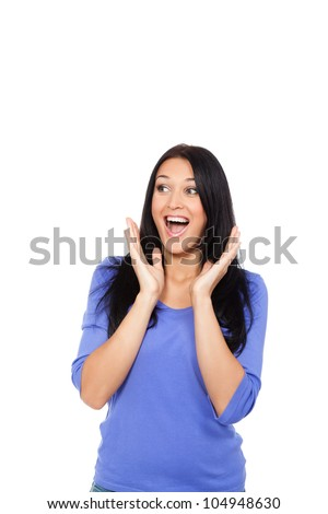 pretty surprised excited woman happy smile, young attractive girl portrait looking side to empty copy space, smiling mouth open isolated over white background - stock photo
