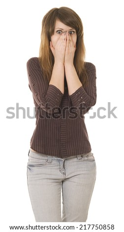 pretty surprised teen over white - stock photo
