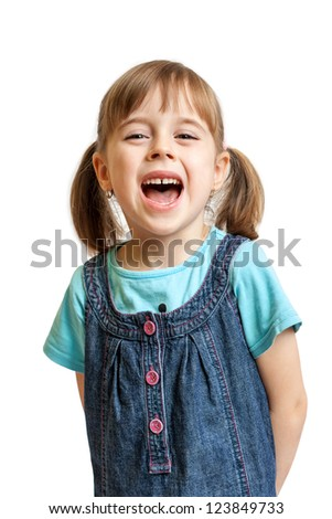 Pretty sweet young girl laughing isolated on white background