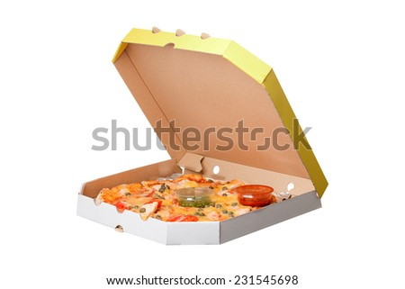pretty tasty fresh pizza in box close-up isolated on black background