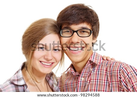 Pretty teen girl and boy embracing and smiling. Isolated on white background, mask included - stock photo
