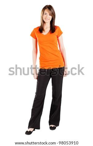 pretty teen girl full length portrait isolated on white - stock photo