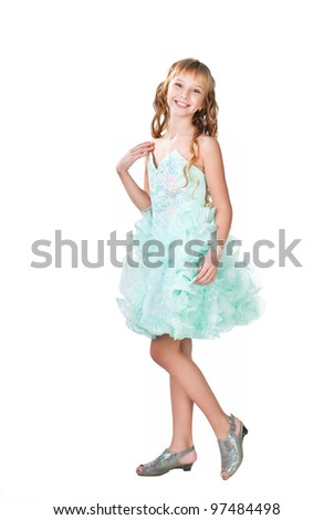 Pretty teen girl in evening dress isolated on white background - stock photo