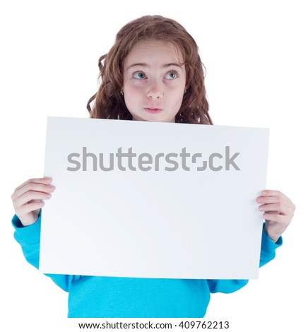 Pretty teen girl with blank poster