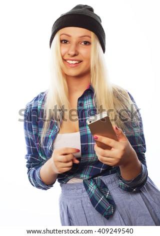 pretty teen girl  with smart phone  - stock photo