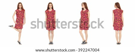Pretty teen n dress front, back, side view, isolated