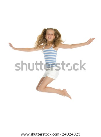 Pretty teenage girl jump and hands up isolated on white