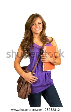 Pretty teenage student carrying notebook