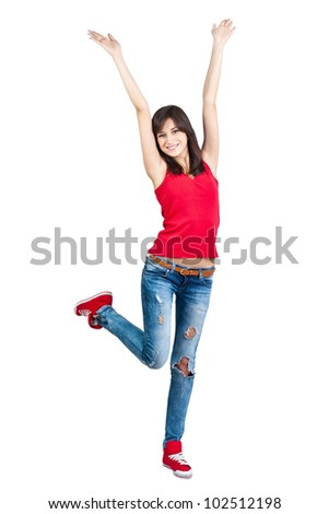 Pretty teenager girl with hands up, isolated - stock photo