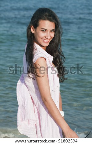 Pretty Teenager Posing on the Beach
