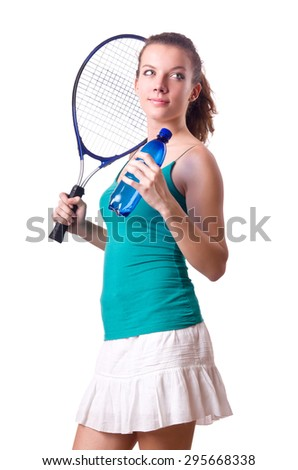 Pretty tennis player isolated on white - stock photo