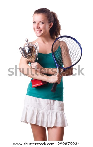 Pretty tennis player with cup isolated on white - stock photo