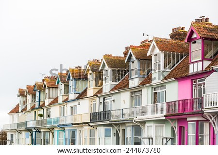 Pretty Terrace Houses in Whitstable, Kent, Uk - stock photo