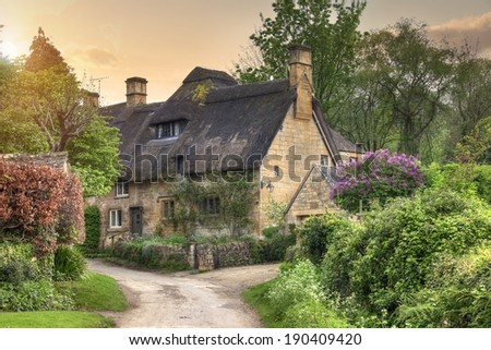 Pretty Thatched Cotswold Cottage In The Village Of Stanton Gloucestershire England