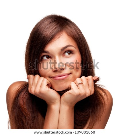 pretty thinking woman with beautiful smile isolated on white background - stock photo