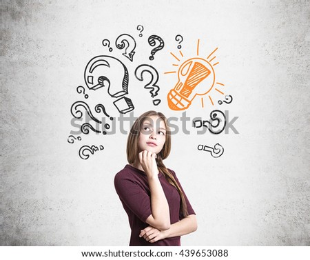 Pretty thoughtful young woman found answer to her questions - stock photo