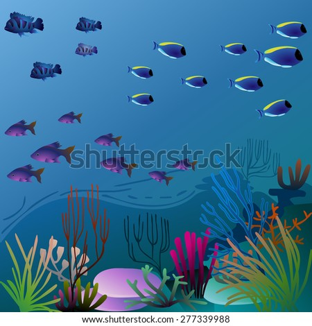 pretty underwater environment with colorful vegetation - stock photo