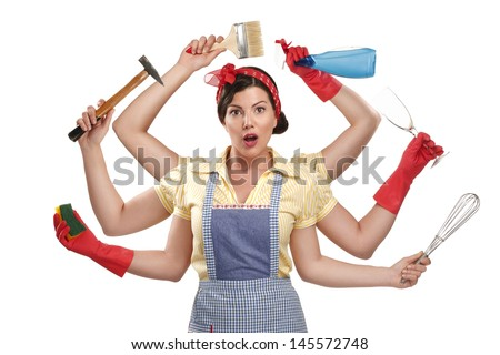 pretty very busy multitasking housewife  on white background - stock photo