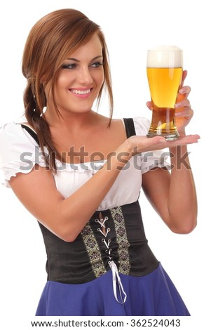 pretty waitress with beer Isolated on white background