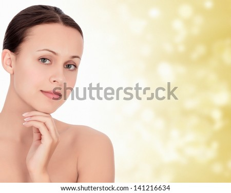 Pretty woman against abstract background with circles and copyspace