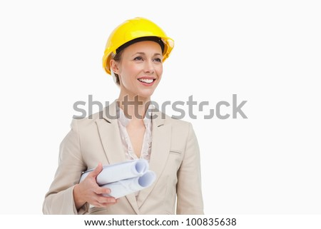 Pretty woman architect against white background