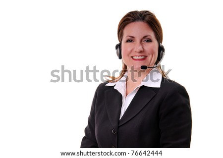 Pretty woman at a call center or customer service representative using a headset to speak to customers or constituents - isolated over white background - stock photo