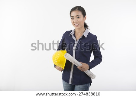 pretty woman construction worker with hard hat  - stock photo
