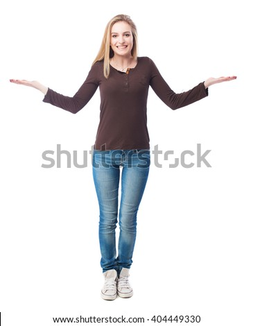 pretty woman doing a balance gesture - stock photo