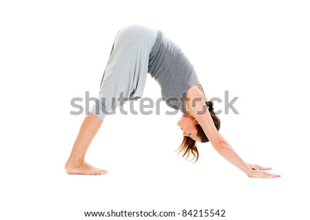 pretty woman doing flexibility exercise. isolated on white background - stock photo