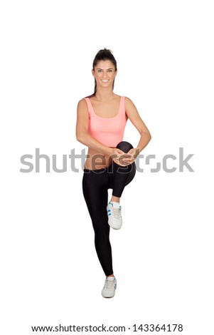 Pretty woman doing stretching into her workout isolated on white background - stock photo