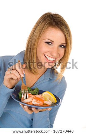 Pretty Woman Eating Healthy Food For Diet