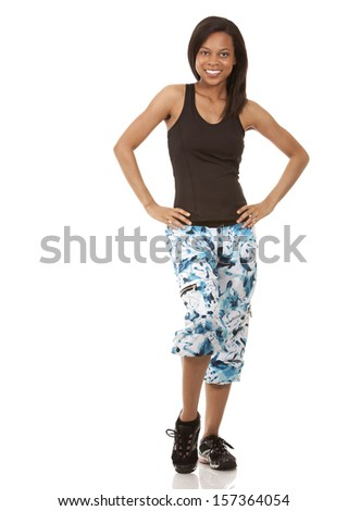 pretty woman exercising on white isolated background - stock photo