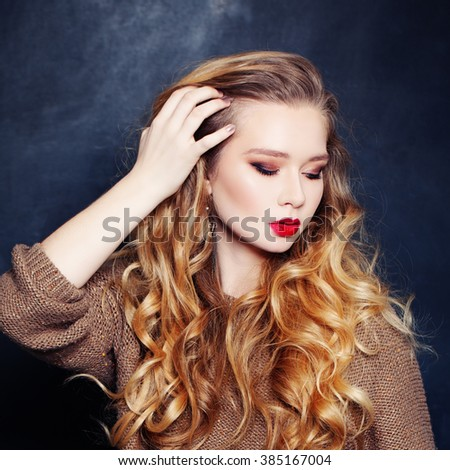 Pretty Woman Fashion Mode with Curly Blonde Hair - stock photo