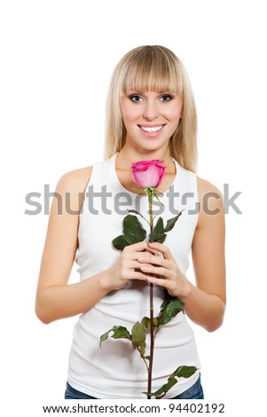 pretty woman happy smile, young girl hold pink rose, isolated over white background - stock photo