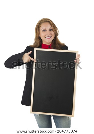 Pretty woman holding a blackboard against a white background - stock photo