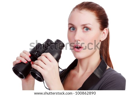 pretty woman holding binoculars, isolated on white background - stock photo
