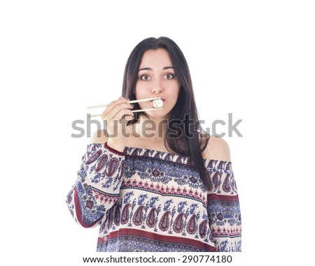 Pretty woman holding sushi against her mouth against a white background - stock photo