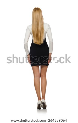 Pretty woman in black and white dress isolated on white - stock photo