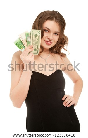 Pretty woman in black dress holding fan made of money isolated on white