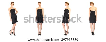 Pretty Woman in black dress isolated - stock photo