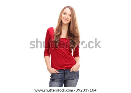 Pretty woman in casual clothes isolated on white background - stock photo