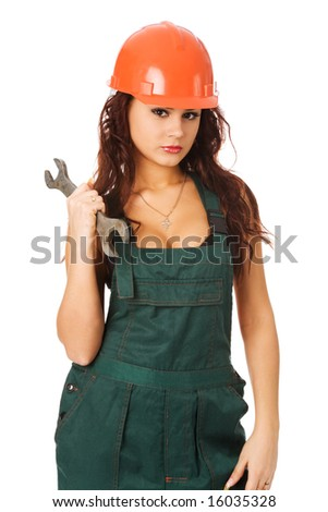 pretty woman in orange helmet on white background
