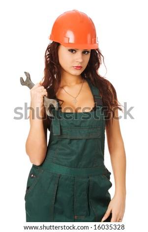 pretty woman in orange helmet on white background - stock photo